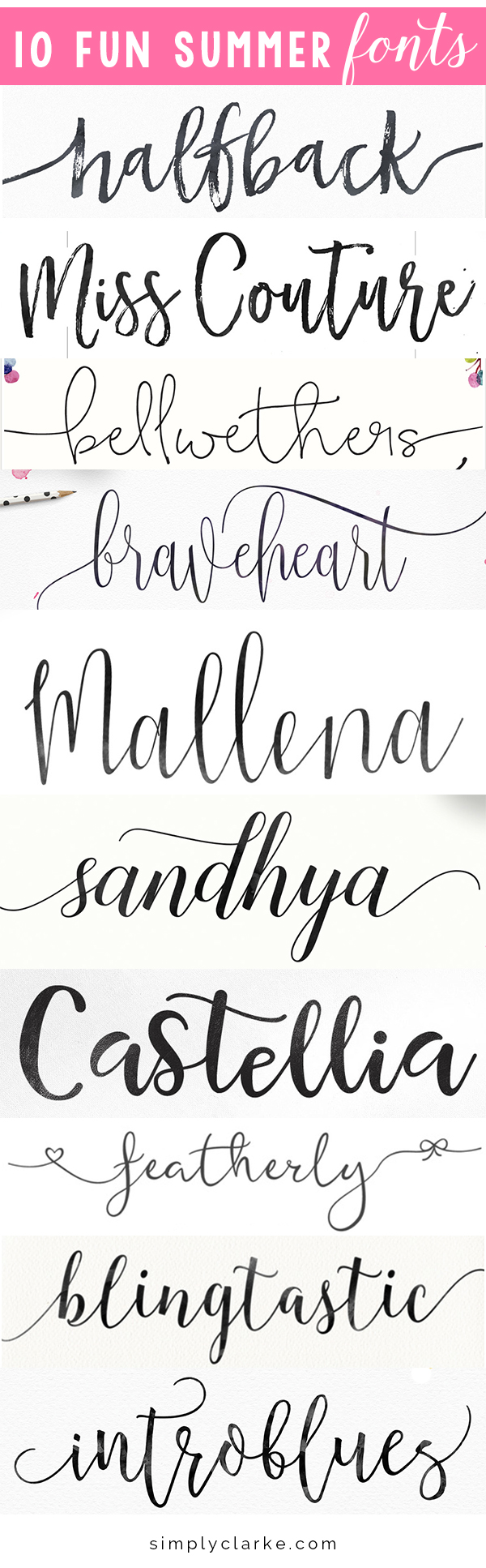 10 Fun Summer Fonts